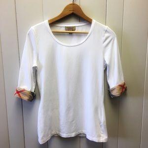 Burberry Check Sleeve Scoop Neck White Tee Shirt